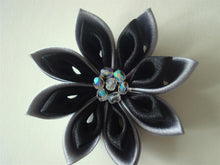 Load image into Gallery viewer, Black and Gray Kanzashi Flower Hair Clip