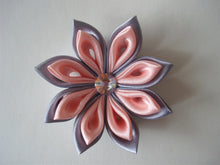 Load image into Gallery viewer, Pink and Gray Kanzashi Hair Clip