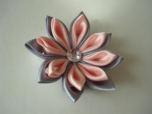 Pink and Gray Kanzashi Hair Clip