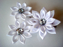 Load image into Gallery viewer, White Kanzashi Flowers - Set of Three Hair Fascinators