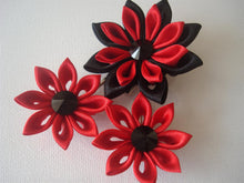 Load image into Gallery viewer, Red and Black Kanzashi Flowers - Set of Three Hair Fascinators