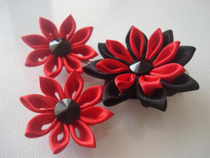 Red and Black Kanzashi Flowers - Set of Three Hair Fascinators