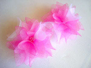 Organza Flowers Bobby Pins - Set of Two