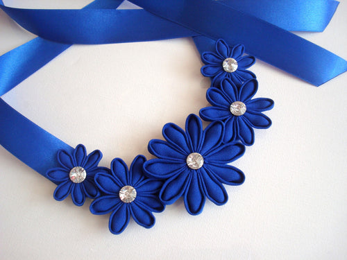 Blue Daisy Kanzashi Necklace