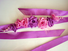 Load image into Gallery viewer, Purple and Pink Satin Roses Sash Belt - Wedding Dress Sash - Bridal Dress Sash - Small Roses