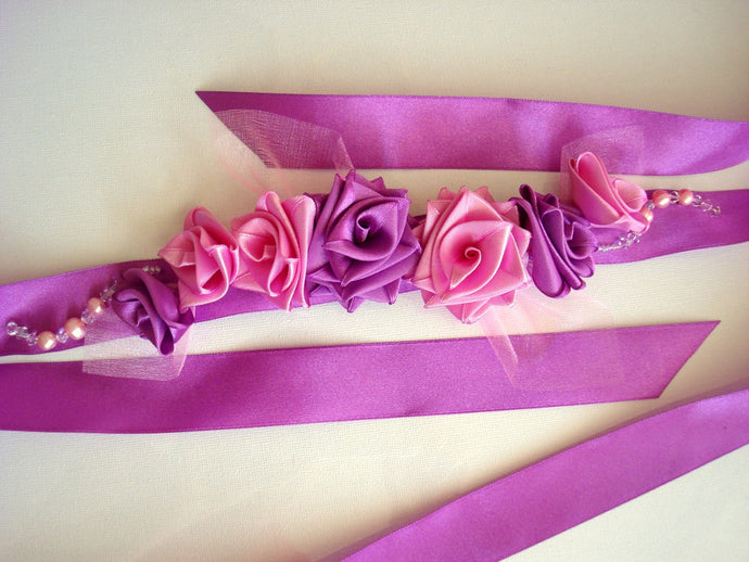 Purple and Pink Satin Roses Sash Belt - Wedding Dress Sash - Bridal Dress Sash - Small Roses