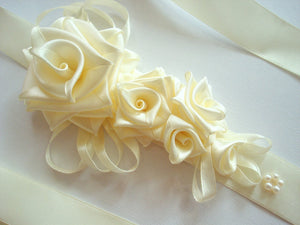 Large Ivory Roses Satin Sash Belt - Bridal Dress Ivory Sash - Wedding Dress Sash