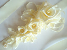 Load image into Gallery viewer, Large Ivory Roses Satin Sash Belt - Bridal Dress Ivory Sash - Wedding Dress Sash