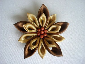 Gold and Bronze Kanzashi Hair Clip