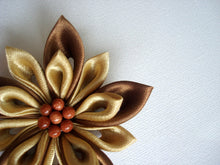 Load image into Gallery viewer, Gold and Bronze Kanzashi Hair Clip