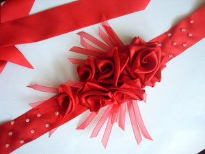 Red Roses Satin Sash Belt - Wedding Dress Sash - Bridal Dress Sash - Large Ribbon Roses