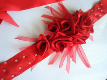 Load image into Gallery viewer, Red Roses Satin Sash Belt - Wedding Dress Sash - Bridal Dress Sash - Large Ribbon Roses