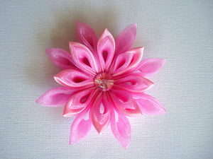 Pink Kanzashi Hair Clip with Swarovski Crystal - Flower Hair Clip