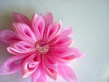 Load image into Gallery viewer, Pink Kanzashi Hair Clip with Swarovski Crystal - Flower Hair Clip