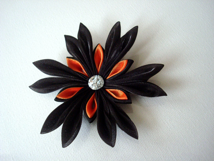 Black and Orange Halloween Hair Clip