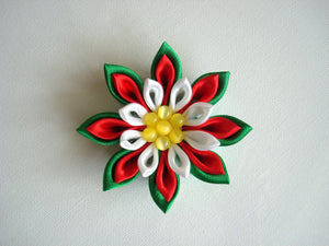 Christmas Kanzashi Hair Clip or Pin