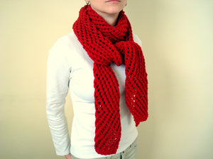 Hand Knitted Red Winter Scarf