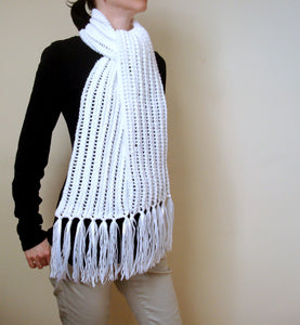 Hand Knitted White Winter Scarf
