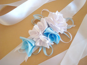 White and Blue Roses Satin Sash Belt - Something Blue - Wedding Dress Sash - Bridal Dress Sash