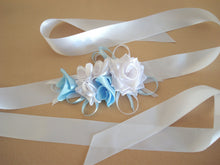 Load image into Gallery viewer, White and Blue Roses Satin Sash Belt - Something Blue - Wedding Dress Sash - Bridal Dress Sash