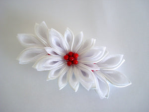 White Kanzashi Flower with Red Coral Barrette