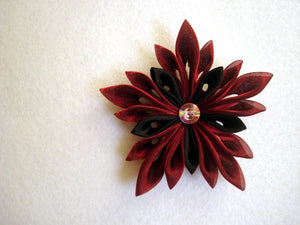 Burgundy and Black Flower - Kanzashi Hair Clip