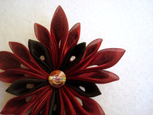 Load image into Gallery viewer, Burgundy and Black Flower - Kanzashi Hair Clip