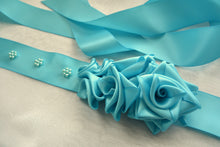 Load image into Gallery viewer, Turquoise Roses Satin Sash Belt- Wedding Dress Sash - Bridal Dress Sash - Large Roses