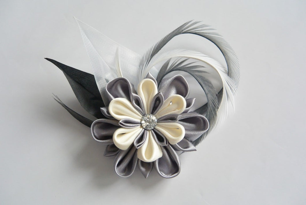 Gray and Ivory Kanzashi Hair Clip with Feathers - Bridal Hair Flower