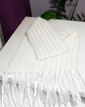 Load image into Gallery viewer, Hand Knitted White Winter Scarf