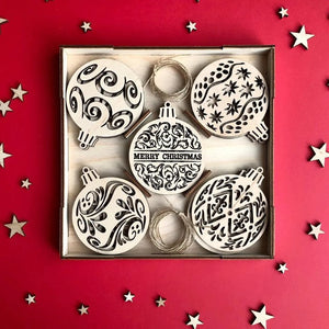 Gift Box Merry Christmas - Wooden Christmas ornaments