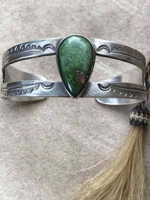 1930's Sterling Silver Turquoise Cuff