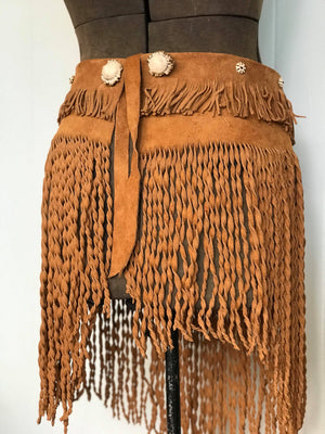 Fringe Apron with Vintage Bone Beads