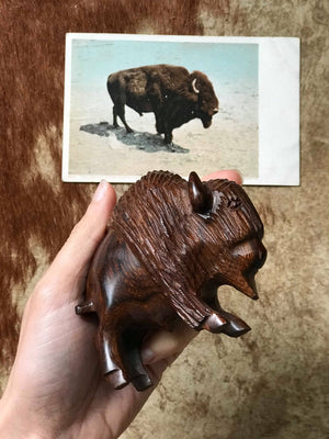 Hand Carved Ironwood Buffalo