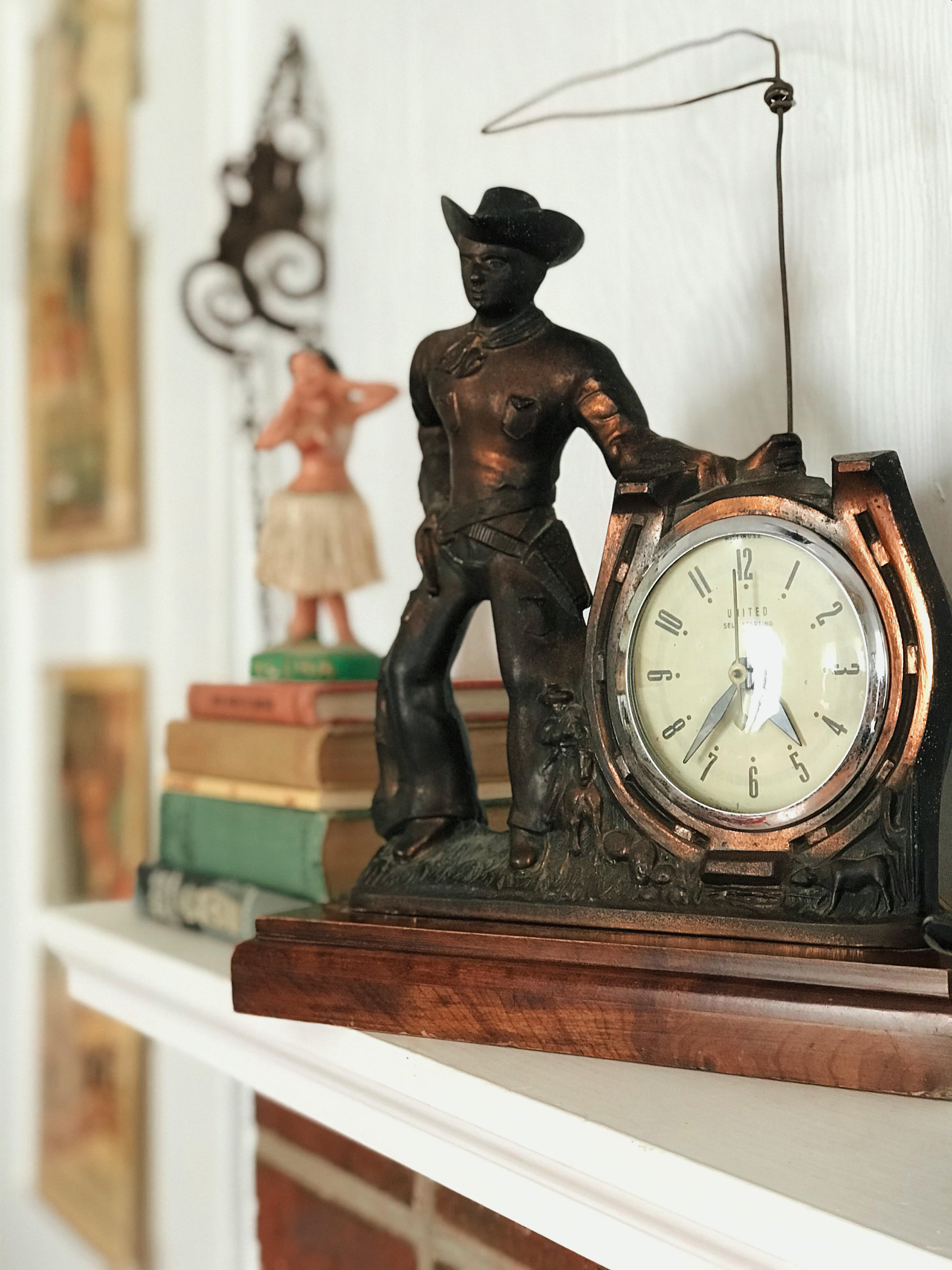 Vintage Cowboy Mantle Clock