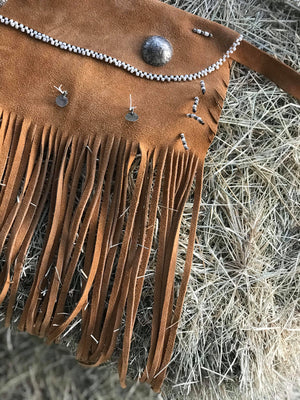 Fringe Apron with German Silver Conchos