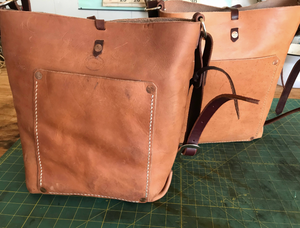 Natural Leather Messenger/Tote