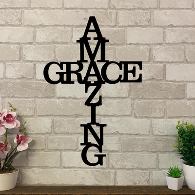 Amazing grace script in the in the form of a cross