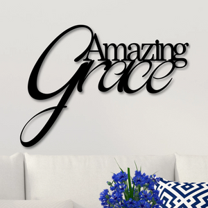 "Script ""Amazing Grace"" sign modeled on white wall"