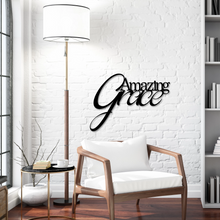 "Script ""Amazing Grace"" sign modeled on brick white wall, zoomed out"