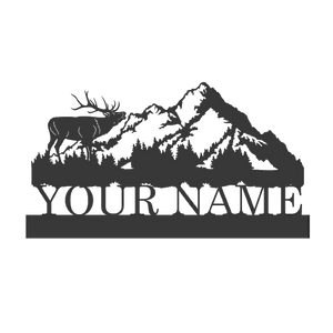 Elk Mountain Metal Monogram | Metal Wildlife Monogram