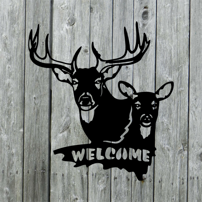Buck and Doe Deer Welcome Sign