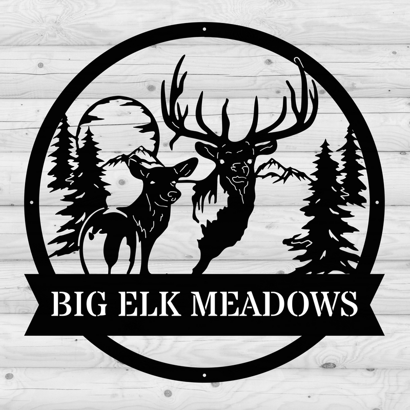 Bull Elk and Cow Monogram
