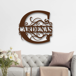 Custom Split Letter Metal Monogram, Metal Art