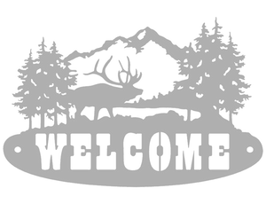 Elk Welcome Sign Metal Art
