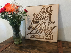 Jeremiah 29:11 Wood Wall Art | Wood Wall Decor | Scripture Art