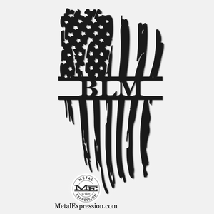 Black Lives Matter Metal Monogram | Tattered American Flag |Metal Expression