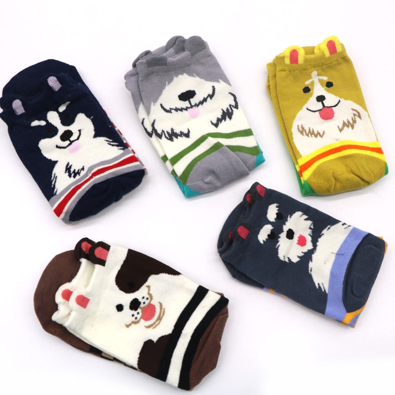1 Pair Cotton Women Socks 3D Cartoon Chrismas Sock Funny Colorful Pattern Winter Fashion Female Socks Striped Warm Sock Animal - Assist Wear