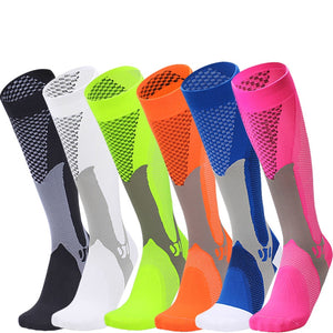 bright black, white, yellow, orange, blue and pink compression socks