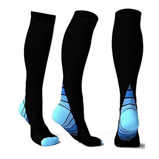 Blue compression socks for flights